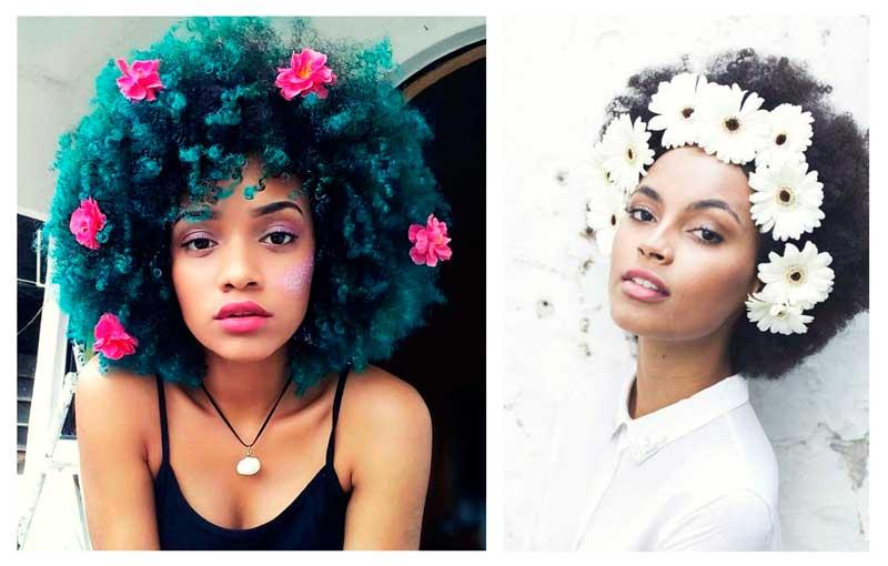 pelo corto adornado con flores